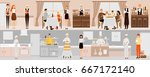vector banners with restaurant... | Shutterstock .eps vector #667172140