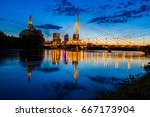 iconic bridge gracing the... | Shutterstock . vector #667173904