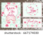 vector wedding invitations set... | Shutterstock .eps vector #667174030