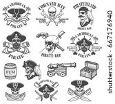set of pirate emblems isolated... | Shutterstock .eps vector #667176940