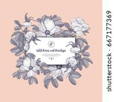 floral card wild roses and... | Shutterstock .eps vector #667177369