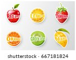 set of orange  lemon ... | Shutterstock .eps vector #667181824