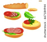 sandwich with butter  sausage ...   Shutterstock .eps vector #667184944