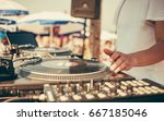 summer beach party   dj playing ... | Shutterstock . vector #667185046