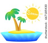 island with palm trees. summer... | Shutterstock .eps vector #667185430