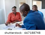 three focused young african... | Shutterstock . vector #667188748