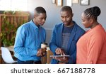 three focused young african... | Shutterstock . vector #667188778