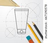 vector blueprint cosmetic cream ... | Shutterstock .eps vector #667190578
