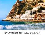 benidorm  spain. summer resort... | Shutterstock . vector #667192714