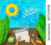 freelance concept. freelancer... | Shutterstock .eps vector #667193998