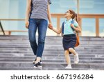 parent and pupil of primary... | Shutterstock . vector #667196284