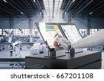 3d rendering robot working on... | Shutterstock . vector #667201108