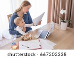 working mom talking on the... | Shutterstock . vector #667202338