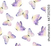 Stock photo watercolor hand drawn butterflies seamless pattern 667202503