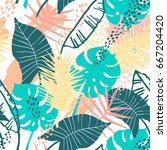 seamless exotic pattern with... | Shutterstock .eps vector #667204420