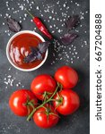 tomato ketchup sauce in a bowl... | Shutterstock . vector #667204888