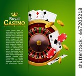 casino roulette with chips ... | Shutterstock .eps vector #667205218