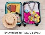 tourist travel bag full of...   Shutterstock . vector #667211980
