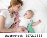 young woman with cute sleeping... | Shutterstock . vector #667213858