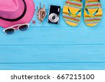 women vacation stuff on upper... | Shutterstock . vector #667215100