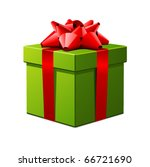 Green Gift With Red Bow Vector...
