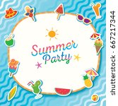 summer party with ice cream and ...   Shutterstock .eps vector #667217344