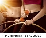 hula hoop woman and people with ... | Shutterstock . vector #667218910