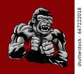 mma fighter gorilla | Shutterstock . vector #667222018