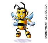 cute bee cartoon flying of... | Shutterstock . vector #667222864
