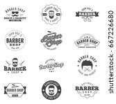 barber shop monochrome badges... | Shutterstock .eps vector #667226680
