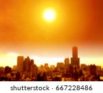 summer heat wave in the city ... | Shutterstock . vector #667228486