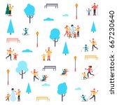 winter people in the park. flat ... | Shutterstock .eps vector #667230640