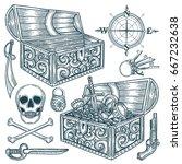 hand drawn pirate treasure and... | Shutterstock .eps vector #667232638