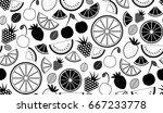 monochromatic vector summer... | Shutterstock .eps vector #667233778