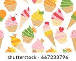 colorful vector summer seamless ... | Shutterstock .eps vector #667233796