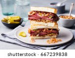 roast beef sandwich on a plate... | Shutterstock . vector #667239838