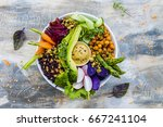 buddha bowl  healthy and... | Shutterstock . vector #667241104