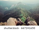 hiker young man sitting over... | Shutterstock . vector #667241650