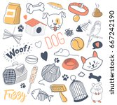 pets hand drawn doodle with... | Shutterstock .eps vector #667242190