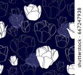 seamless pattern with white... | Shutterstock .eps vector #667247938