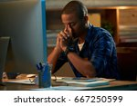 tired young white collar worker ... | Shutterstock . vector #667250599