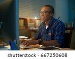waist up portrait of cheerful... | Shutterstock . vector #667250608
