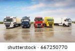 trucks in the warehouse parking | Shutterstock . vector #667250770