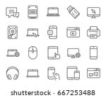 mobile devices line icons. set... | Shutterstock .eps vector #667253488