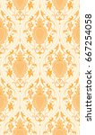pattern with damask. yellow... | Shutterstock .eps vector #667254058