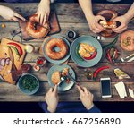 group of people dining concept | Shutterstock . vector #667256890