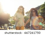 female couple have walk and... | Shutterstock . vector #667261750