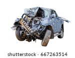 car destroyed isolated on white ... | Shutterstock . vector #667263514