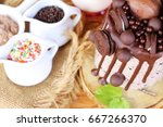 chocolate roll cake with... | Shutterstock . vector #667266370
