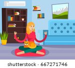colored flat fitness training... | Shutterstock .eps vector #667271746